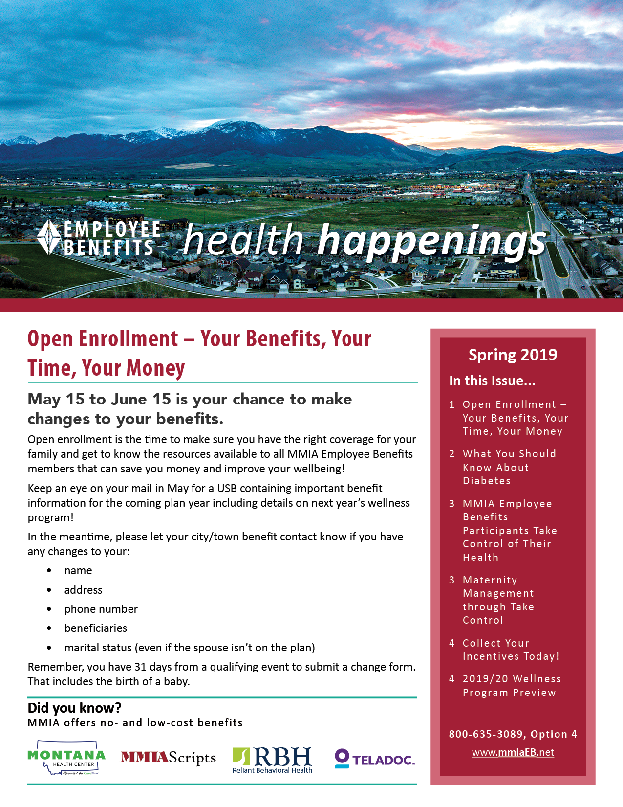 Spring 2019 Employee Benefits Newsletter cover